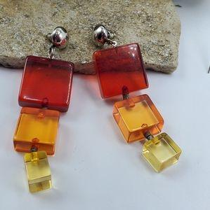 Vtg  Square Block Earrings 80's Dangle Drop